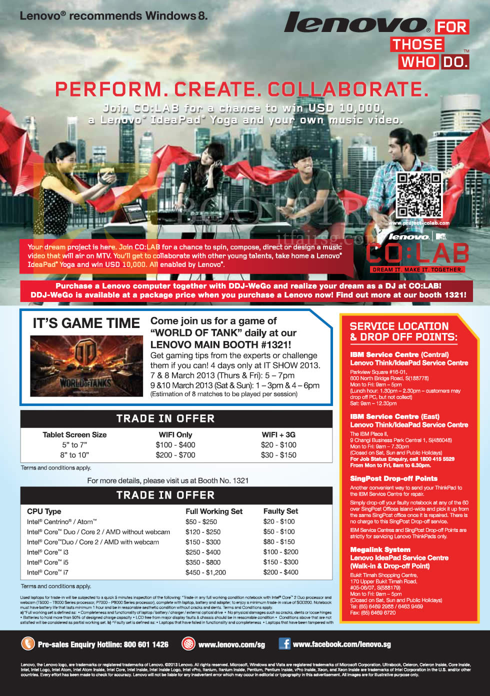 IT SHOW 2013 price list image brochure of Lenovo Notebooks Desktop PC Trade In, Service Centre Locations