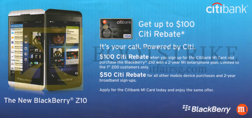 IT SHOW 2013 price list image brochure of M1 Citibank Card Up To 100 Dollars Citi Rebate