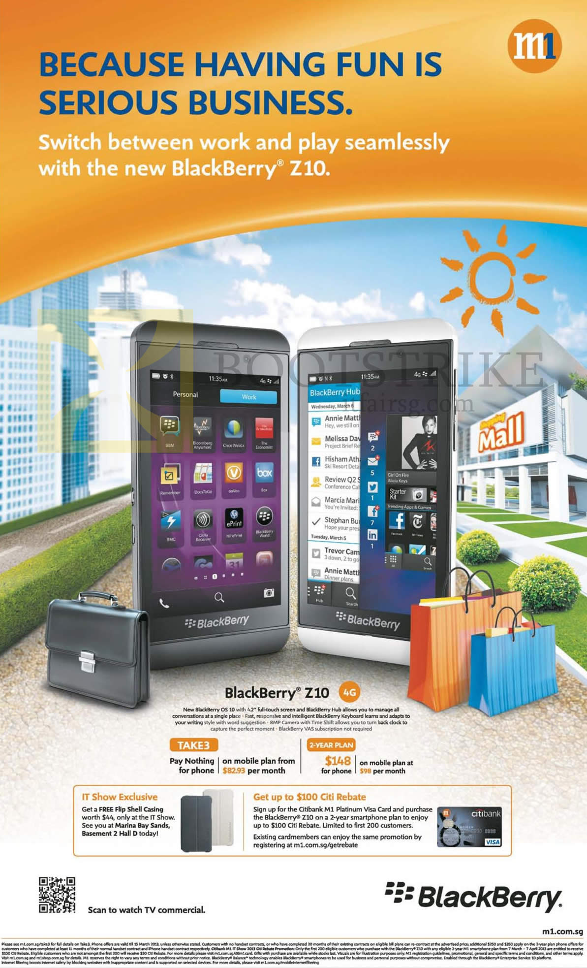 IT SHOW 2013 price list image brochure of M1 Mobile Phone Blackberry Z10