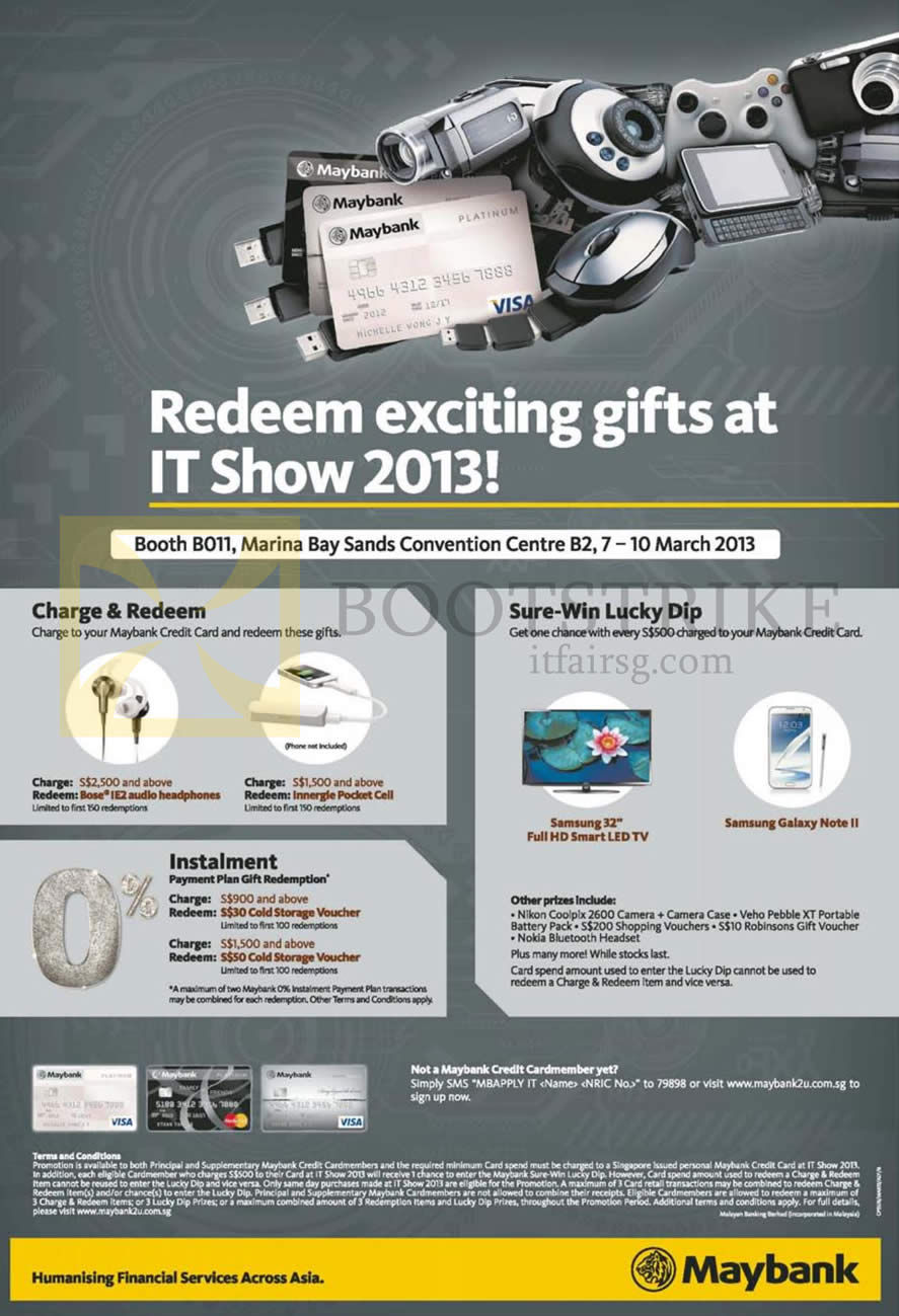 IT SHOW 2013 price list image brochure of Maybank Credit Cards Charge N Redeem, Sure Win Lucky Dip, Instalment