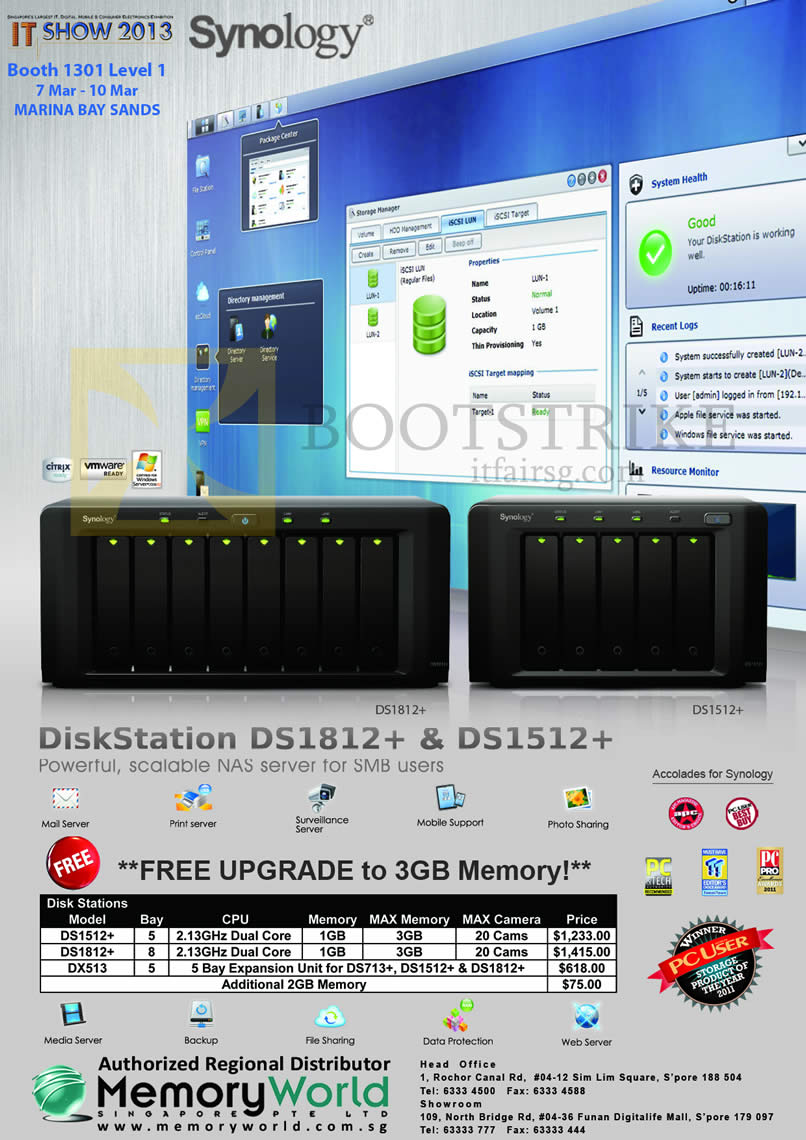 IT SHOW 2013 price list image brochure of Memory World Synology NAS DiskStation DS1512 Plus, DS1812 Plus, DX513