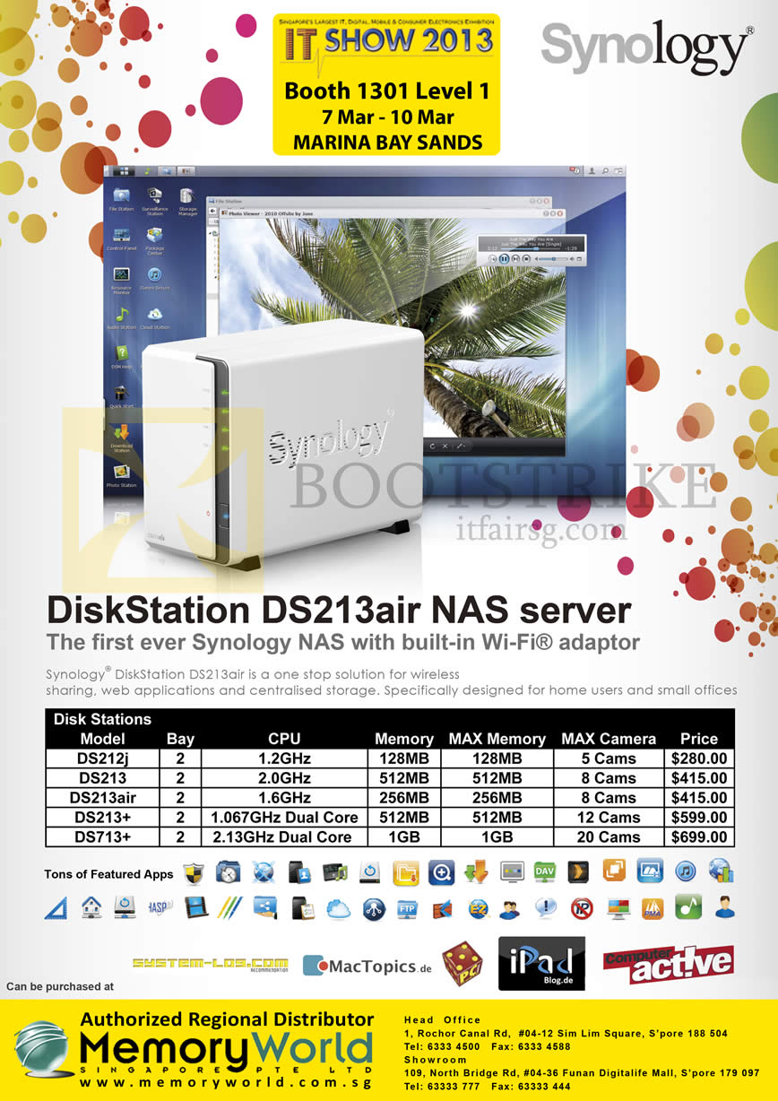 IT SHOW 2013 price list image brochure of Memory World Synology NAS DiskStation DS213air, DS212j, DS213, DS213air, DS213Plus, DS713Plus