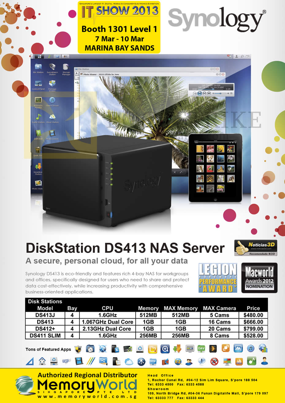 IT SHOW 2013 price list image brochure of Memory World Synology NAS DiskStation DS413j, DS413, DS412Plus, DS411 Slim