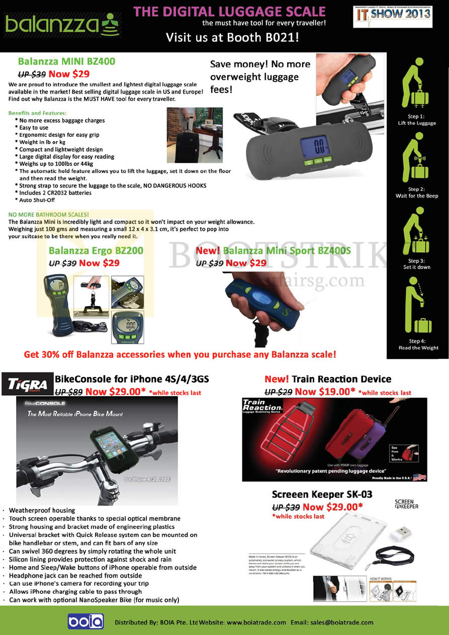 IT SHOW 2013 price list image brochure of Mojito Boia Balanzza Mini BZ400 Digital Luggage Scale, Ergo BZ200, Mini Sport BZ400S, Tigra BikeConsole, Train Reaction Device, Screeen Keeper SK-03