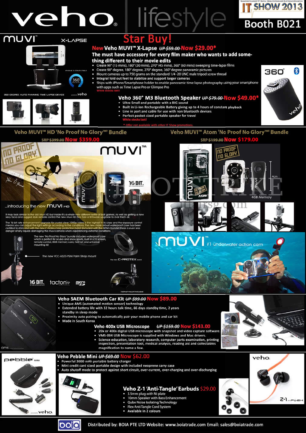 IT SHOW 2013 price list image brochure of Mojito Boia Veho Muvi X-Lapse, 360 M3 Bluetooth Wireless Speaker, Muvi HD, Muvi Atom, Saem, 400x USB Microscope, Pebble Mini, Z-1 Earphones