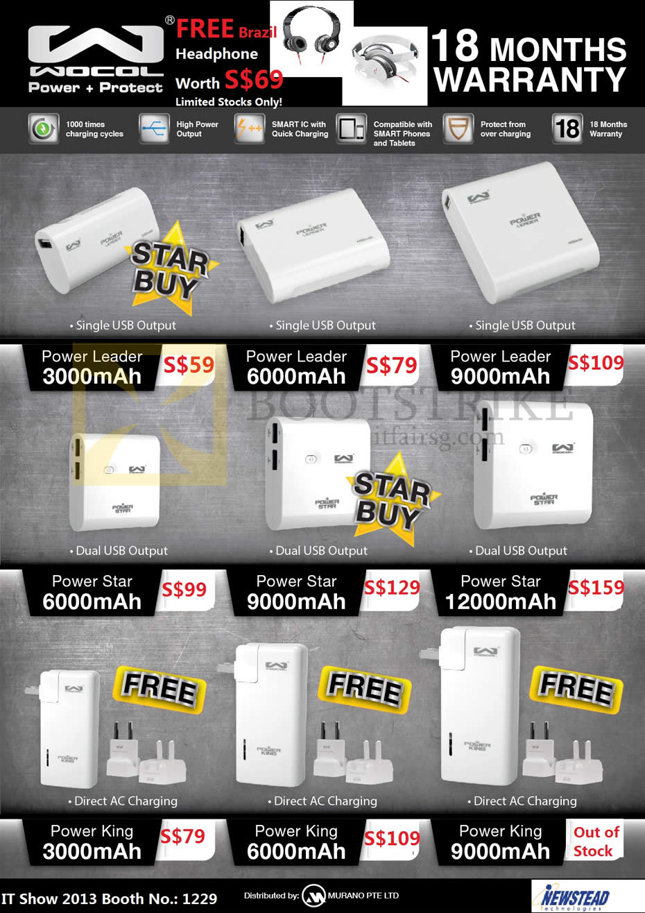 IT SHOW 2013 price list image brochure of Mojito Murano Wocol Portable Chargers Power Leader, Power Star, Power King