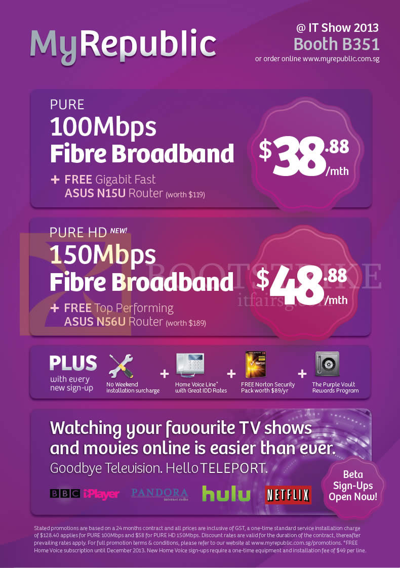 IT SHOW 2013 price list image brochure of MyRepublic Fibre Broadband Plans Pure, Pure HD, Free ASUS N15U Router, Teleport TV
