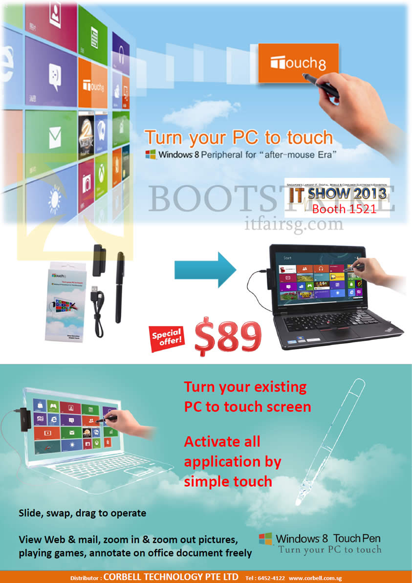 IT SHOW 2013 price list image brochure of Newstead Corbell Touch8 Windows 8 Touch Pen