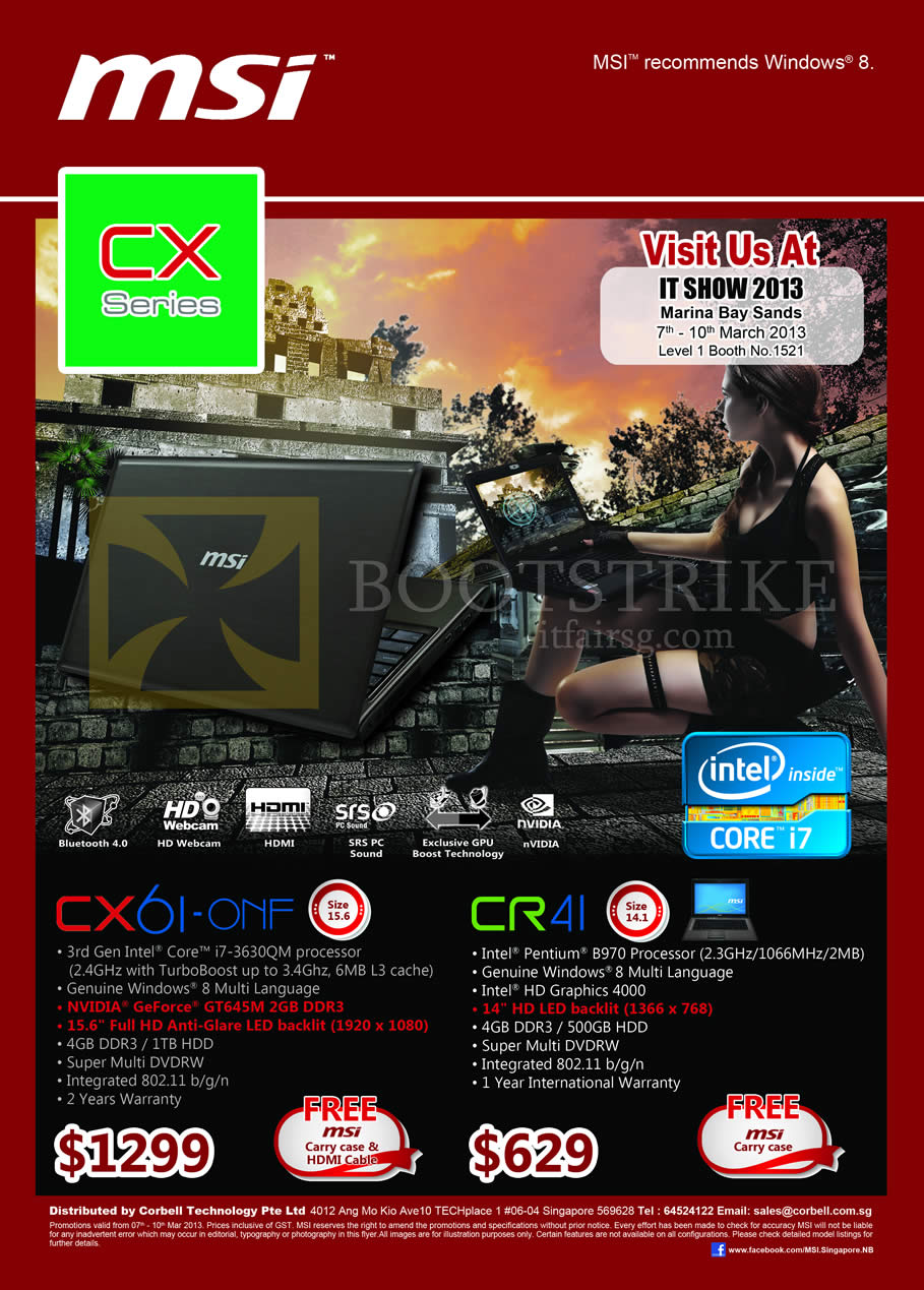 IT SHOW 2013 price list image brochure of Newstead MSI Notebooks CX Series Notebooks CX61-ONF, CR41