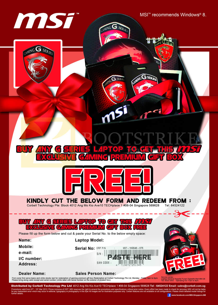 IT SHOW 2013 price list image brochure of Newstead MSI Notebooks Exclusive Gaming Premium Gift Box With Purchase Of Any G Series Laptop
