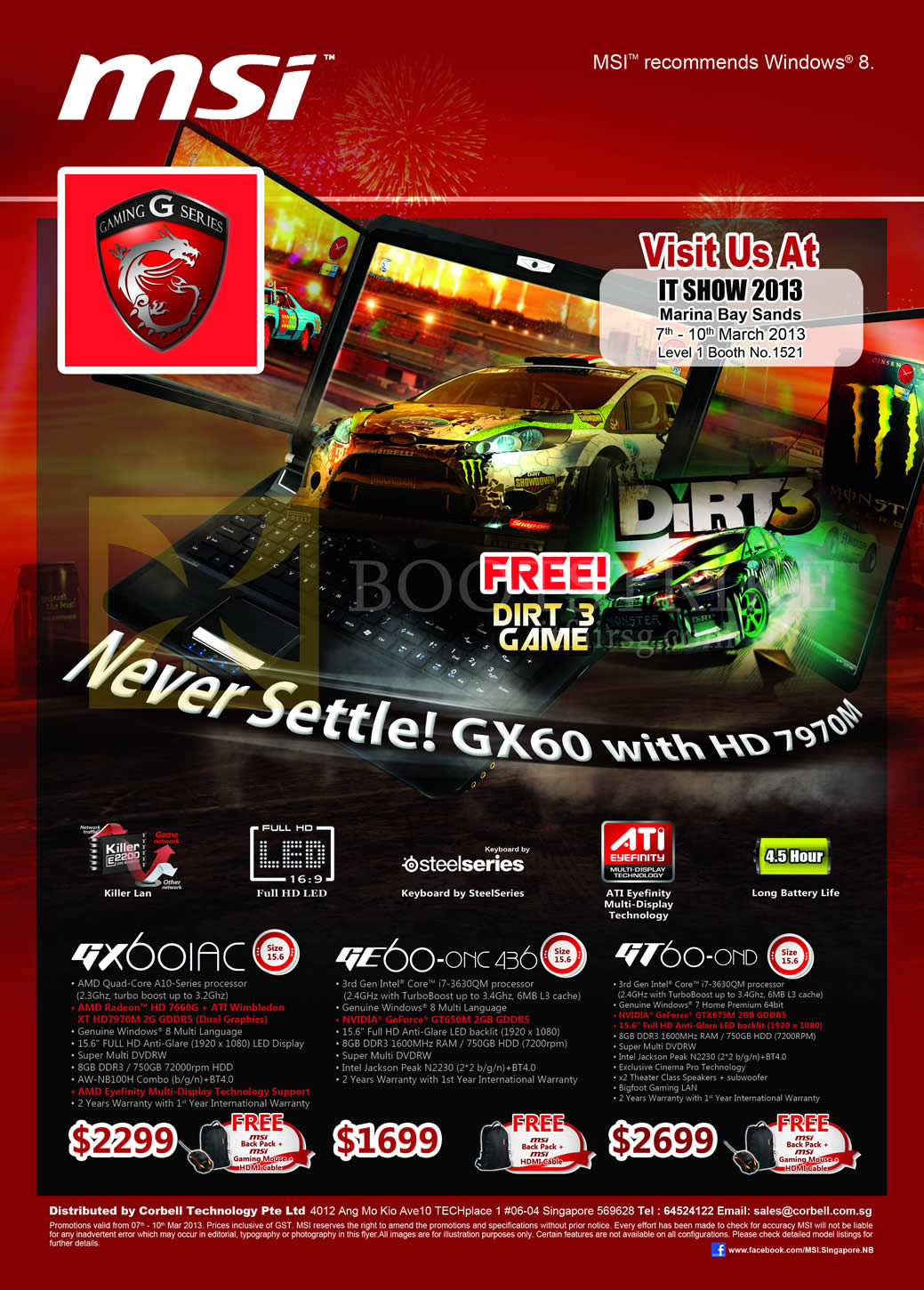 IT SHOW 2013 price list image brochure of Newstead MSI Notebooks G Series Notebooks GX60-1AC, GE60 0NC, GT60-0ND