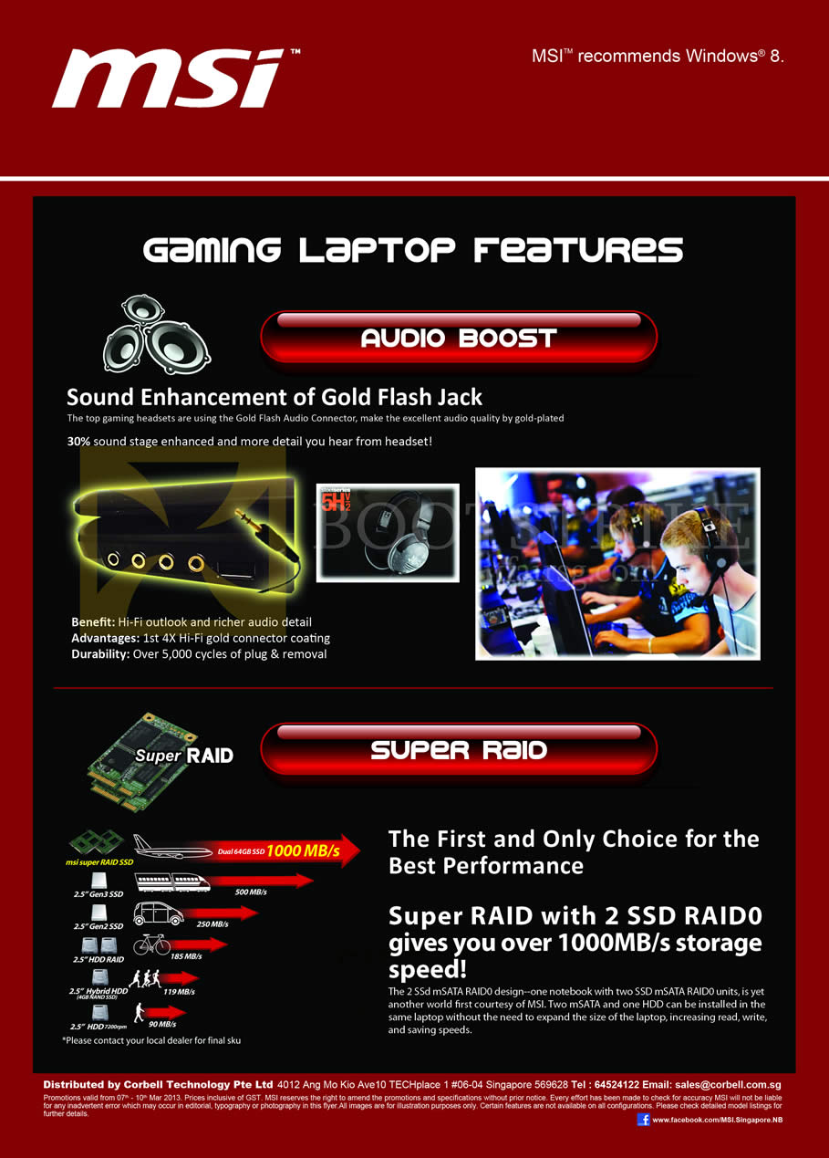 IT SHOW 2013 price list image brochure of Newstead MSI Notebooks Gaming Laptop Features Audio Boost, Super Raid