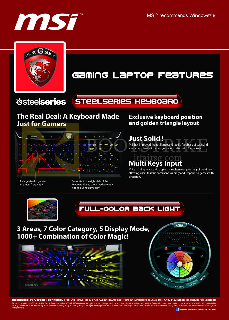 IT SHOW 2013 price list image brochure of Newstead MSI Notebooks Gaming Laptop Features Steelseries Keyboard, Full Color Back Light