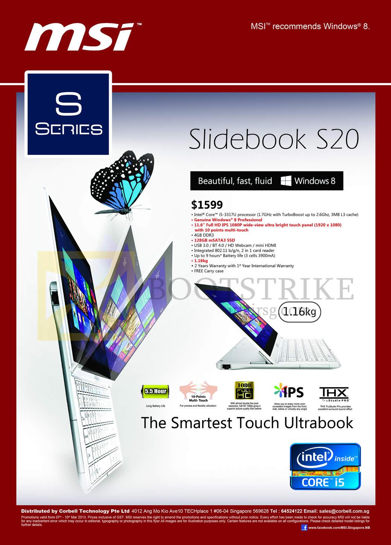IT SHOW 2013 price list image brochure of Newstead MSI Notebooks Slidebook S20 Ultrabook