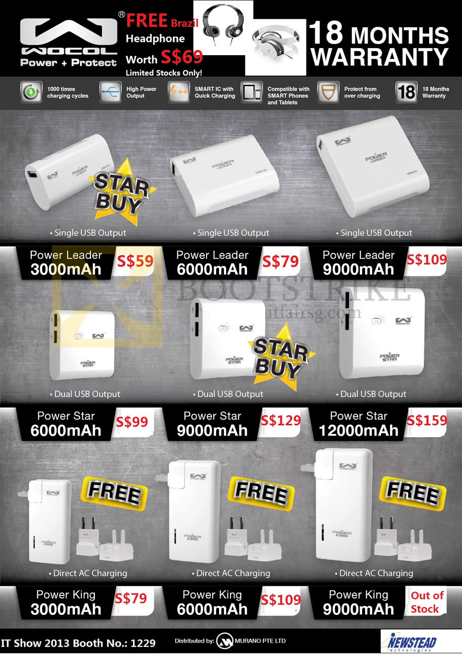 IT SHOW 2013 price list image brochure of Newstead Murano Wocol Portable Chargers Power Leader, Power Star, Power King