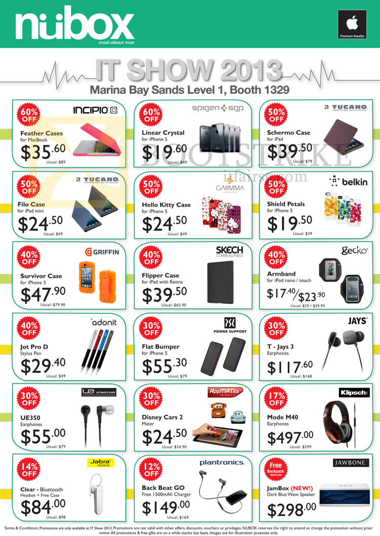 IT SHOW 2013 price list image brochure of Newstead Nubox Accessories Case, T-Jays 3 Earphone, Ultimate Ears UE350, Jawbone Jambox, Plantronics, Jabra, Klipsch Mode M40