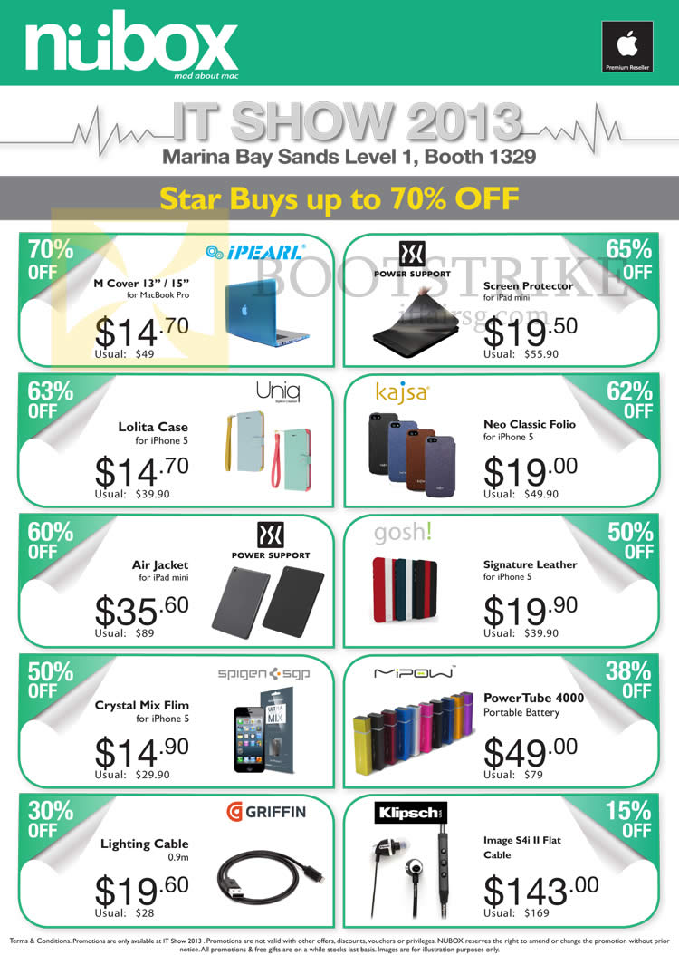 IT SHOW 2013 price list image brochure of Newstead Nubox Accessories IPearl, Power Support, Uniq, Kajsa, Gosh, Griffin, Klipsch, Mipow PowerTube 4000