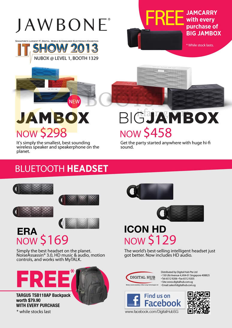 IT SHOW 2013 price list image brochure of Newstead Nubox Jawbone Speakers Jambox Wireless Speakerphone, Big Jambox, Era Bluetooth Headset, Icon HD