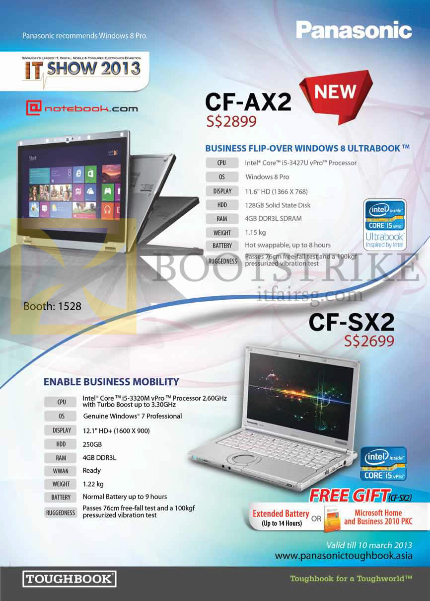 IT SHOW 2013 price list image brochure of Newstead Panasonic Toughbook Notebooks CF-AX2, CF-SX2
