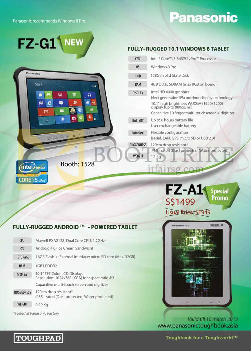 IT SHOW 2013 price list image brochure of Newstead Panasonic Toughpad Tablets FZ-G1, Android FZ-A1