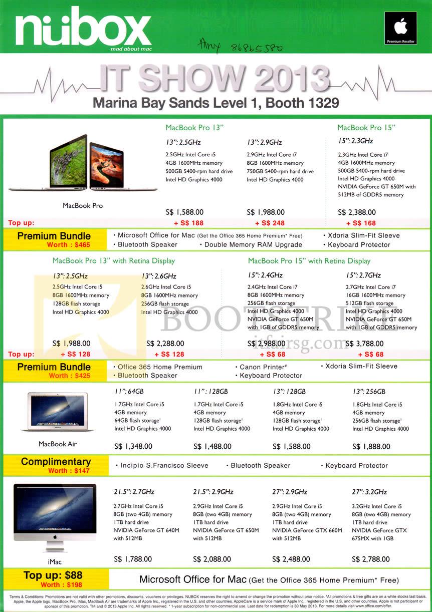 IT SHOW 2013 price list image brochure of Nubox Apple Notebooks MacBook Pro, Macbook Pro With Retina Display, MacBook Air, IMac AIO Desktop PC