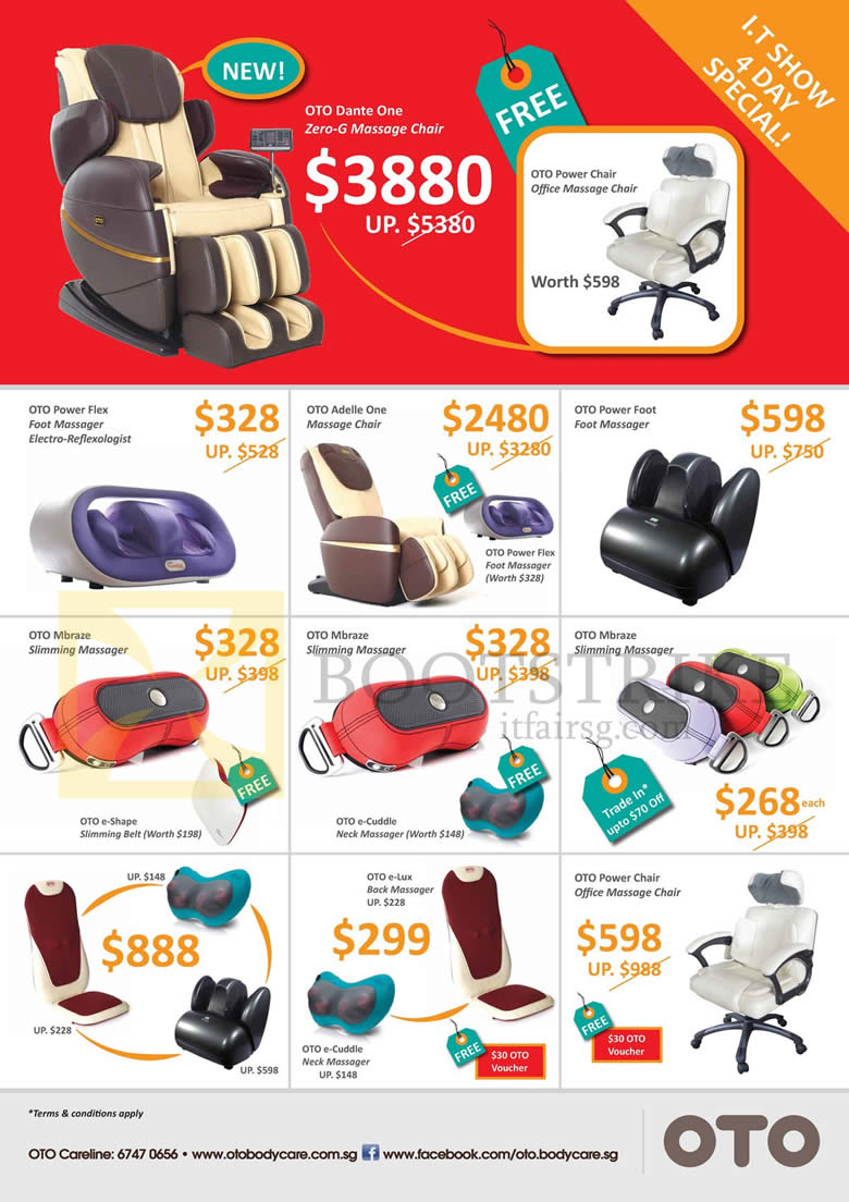 IT SHOW 2013 price list image brochure of OTO Massage Chairs Dante One Zero-G, Power Flex, Adelle One, Power Foot, Mbraze, E-Lux, Power Chair