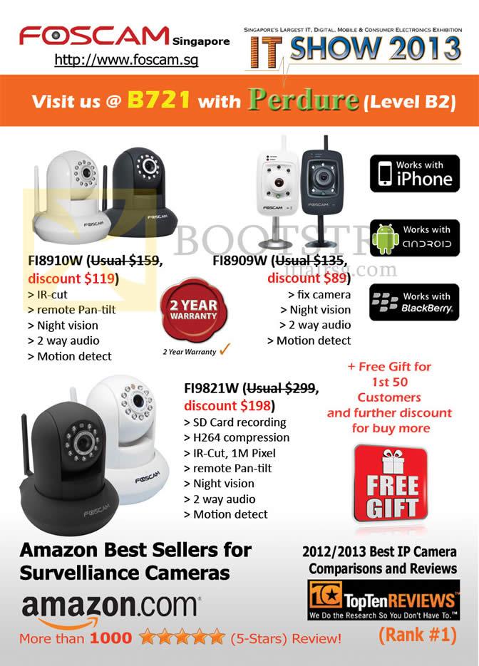 IT SHOW 2013 price list image brochure of Perdure Foscam Survelliance Cameras FI8910W, FI8909W, FI9821W