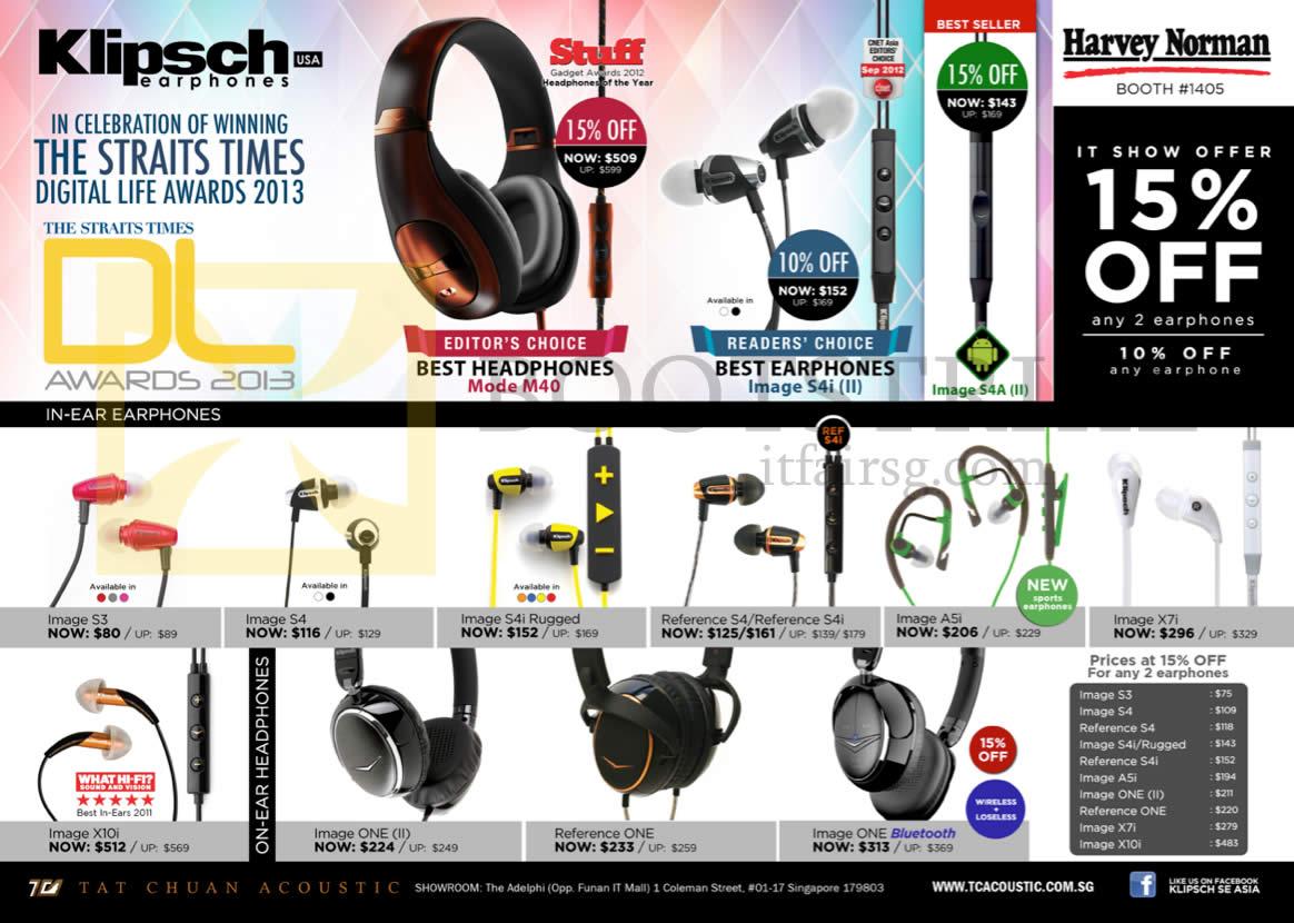 IT SHOW 2013 price list image brochure of Pertama Tat Chuan Klipsch Headphones Mode M40, Image S4i II Earphones, Image S3 S4 A5i One (II) X7i X10i, Reference S4 S4i ONE