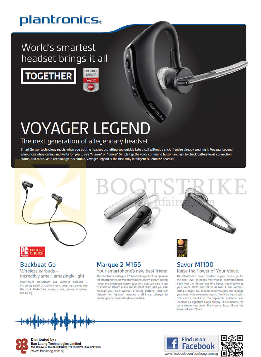 IT SHOW 2013 price list image brochure of Plantronics Bluetooth Headsets Features Voyager Legend, Backbeat Go, Marque 2 M165, Savor M1100