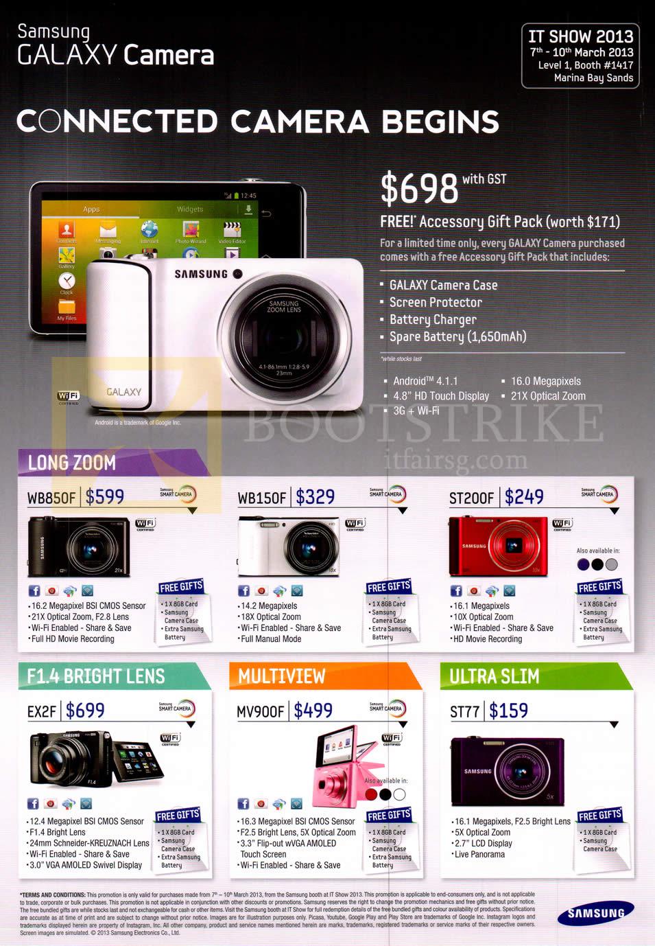 IT SHOW 2013 price list image brochure of Samsung Digital Cameras Galaxy Camera, WB850F, WB150F, ST200F, EX2F, MV900F, ST77