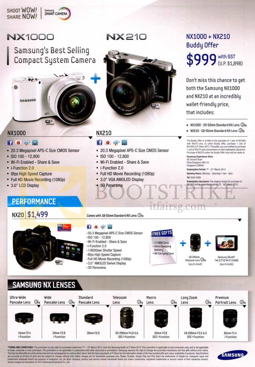 IT SHOW 2013 price list image brochure of Samsung Digital Cameras NX1000, NX210, NX20, Lenses