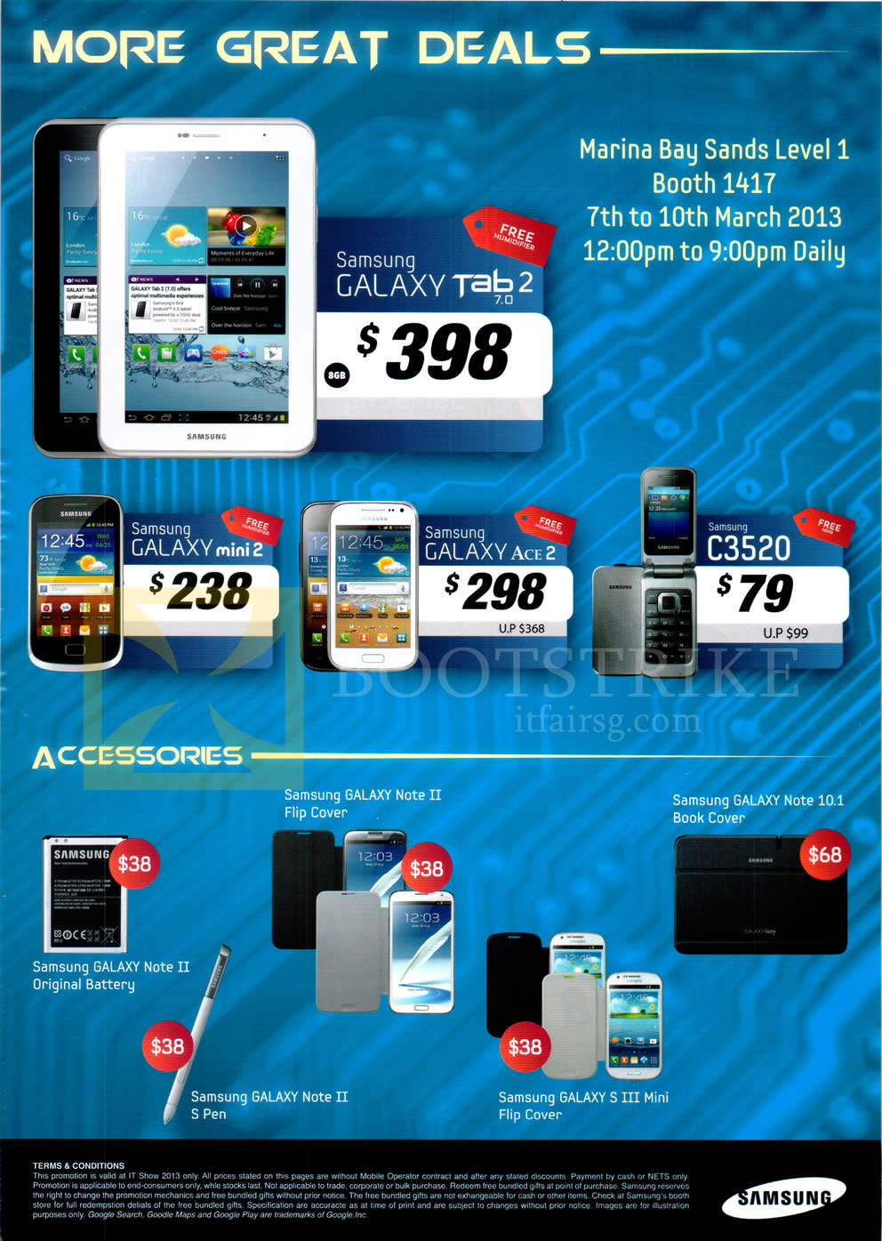 IT SHOW 2013 price list image brochure of Samsung Mobile Phones Galaxy Tab 2 7.0, Galaxy Mini 2, Galaxy Ace 2, C3520, Accessories Cover, Battery, S Pen, Flip Cover