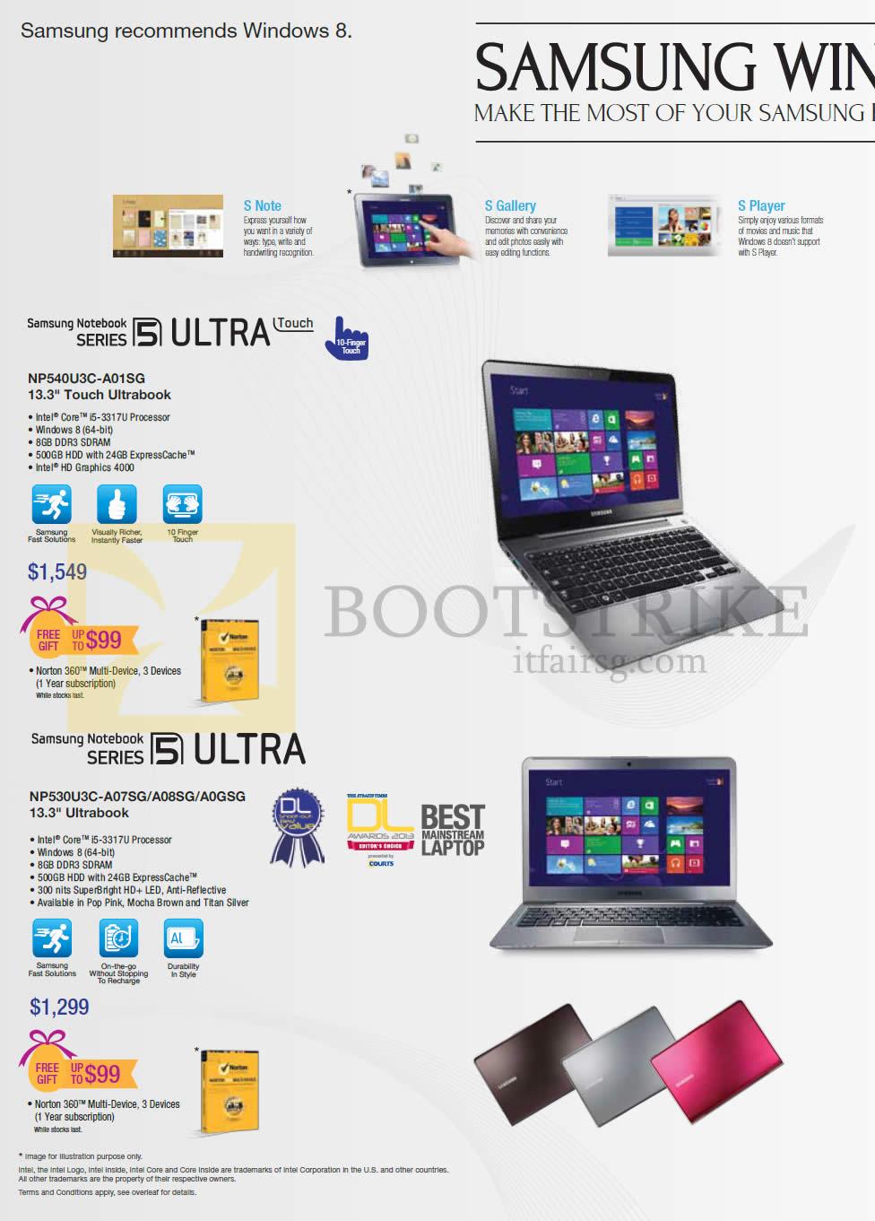 IT SHOW 2013 price list image brochure of Samsung Notebooks Series 5 NP540U3C-A01SG Ultrabook, NP530U3C-A07SG A08SG A0GSG