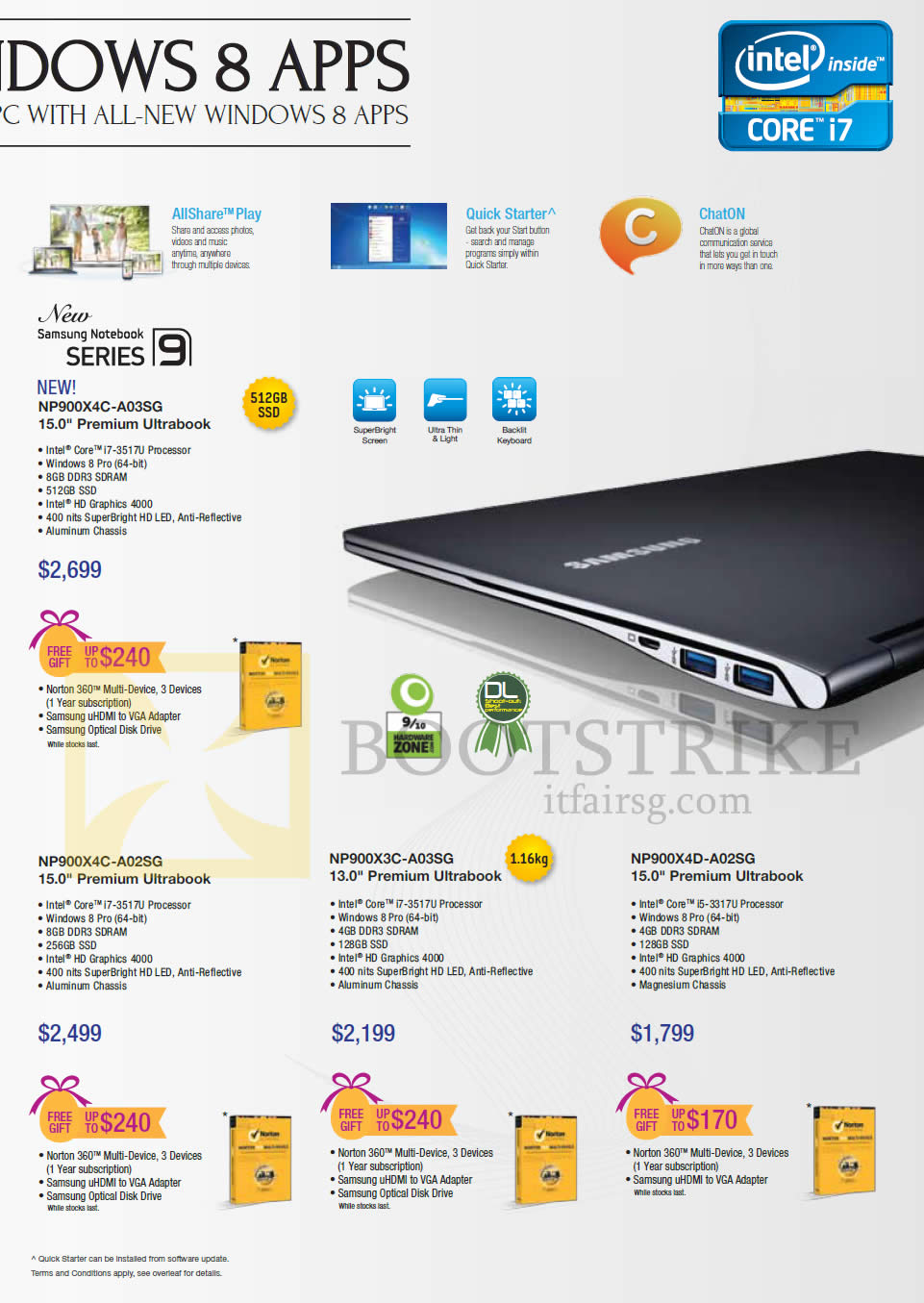 IT SHOW 2013 price list image brochure of Samsung Notebooks Series 9 NP900X4C-A03SG Ultrabook, NP900X4C-A02SG, NP900X3C-A03SG, NP900X4D-A02SG