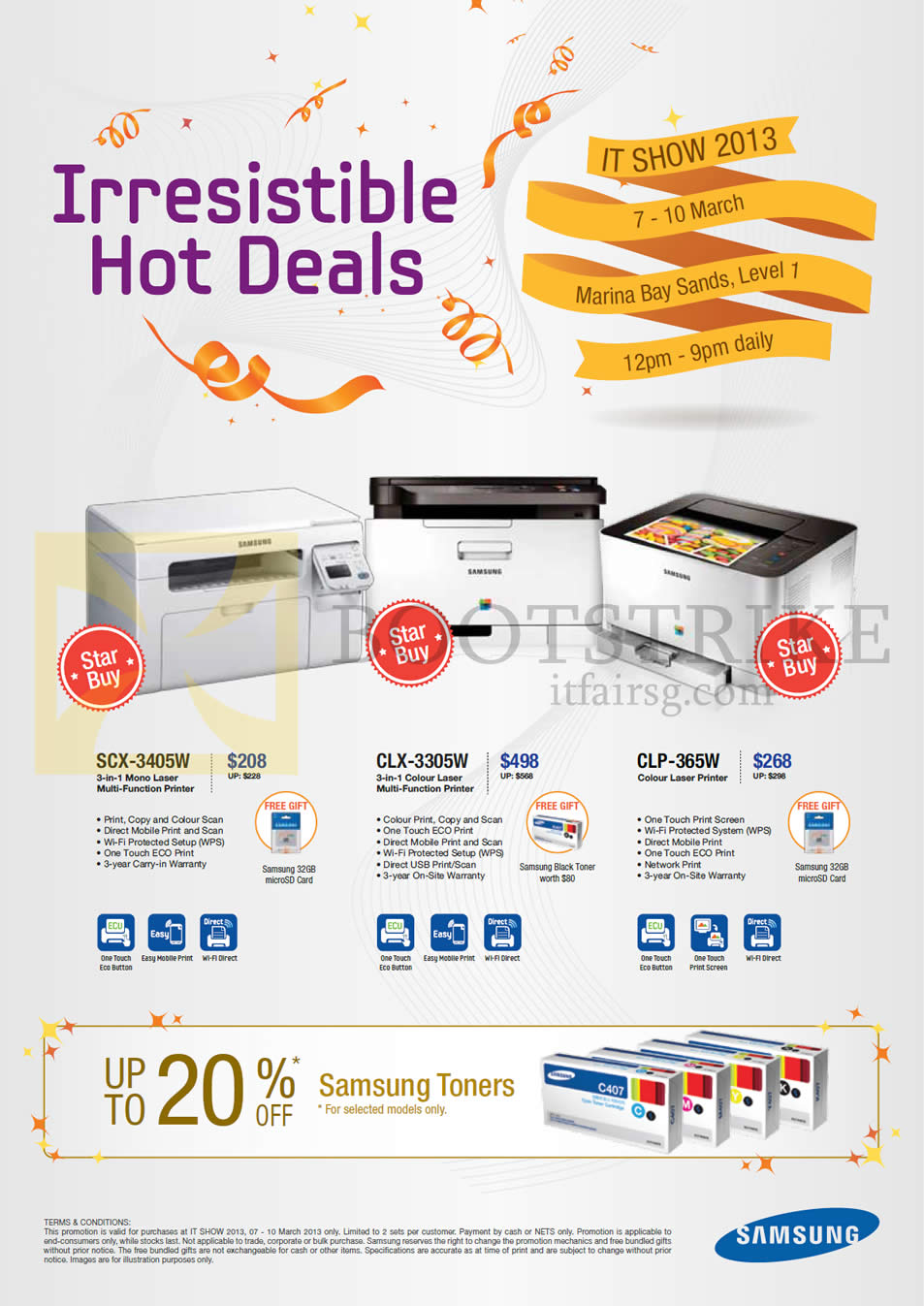 IT SHOW 2013 price list image brochure of Samsung Printers Laser SCX-3405W, CLX-3305W, CLP-365W