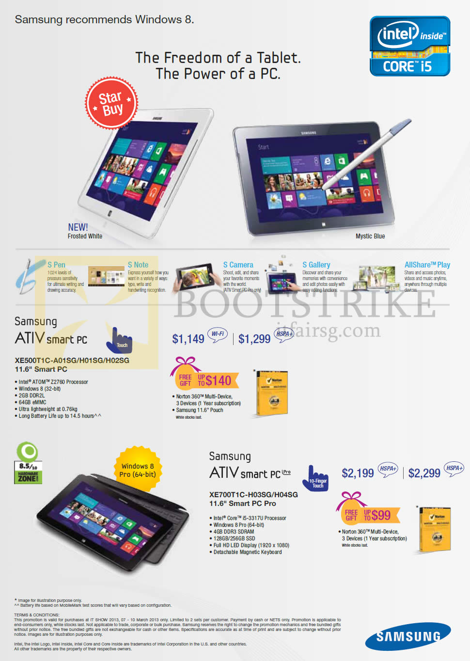 IT SHOW 2013 price list image brochure of Samsung Tablets ATIV Smart PC XE500T1C-A01SG H01SG H02SG, Pro XE700T1C-H03SG H04SG