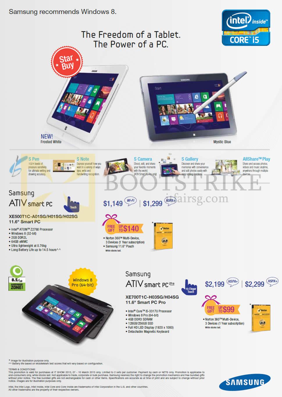 IT SHOW 2013 price list image brochure of Samsung Tablets ATIV Smart PC XE500T1C-A01SG H01SG H02SG, Pro XE700T1C-H03SG H04SG