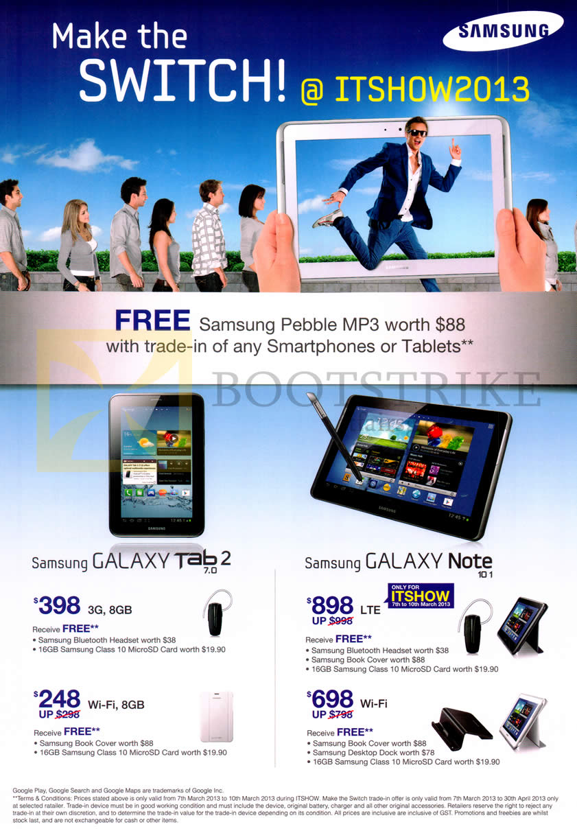IT SHOW 2013 price list image brochure of Samsung Tablets Galaxy Tab 2 7.0, Galaxy Note 10.1, Trade In Get Free Pebble MP3