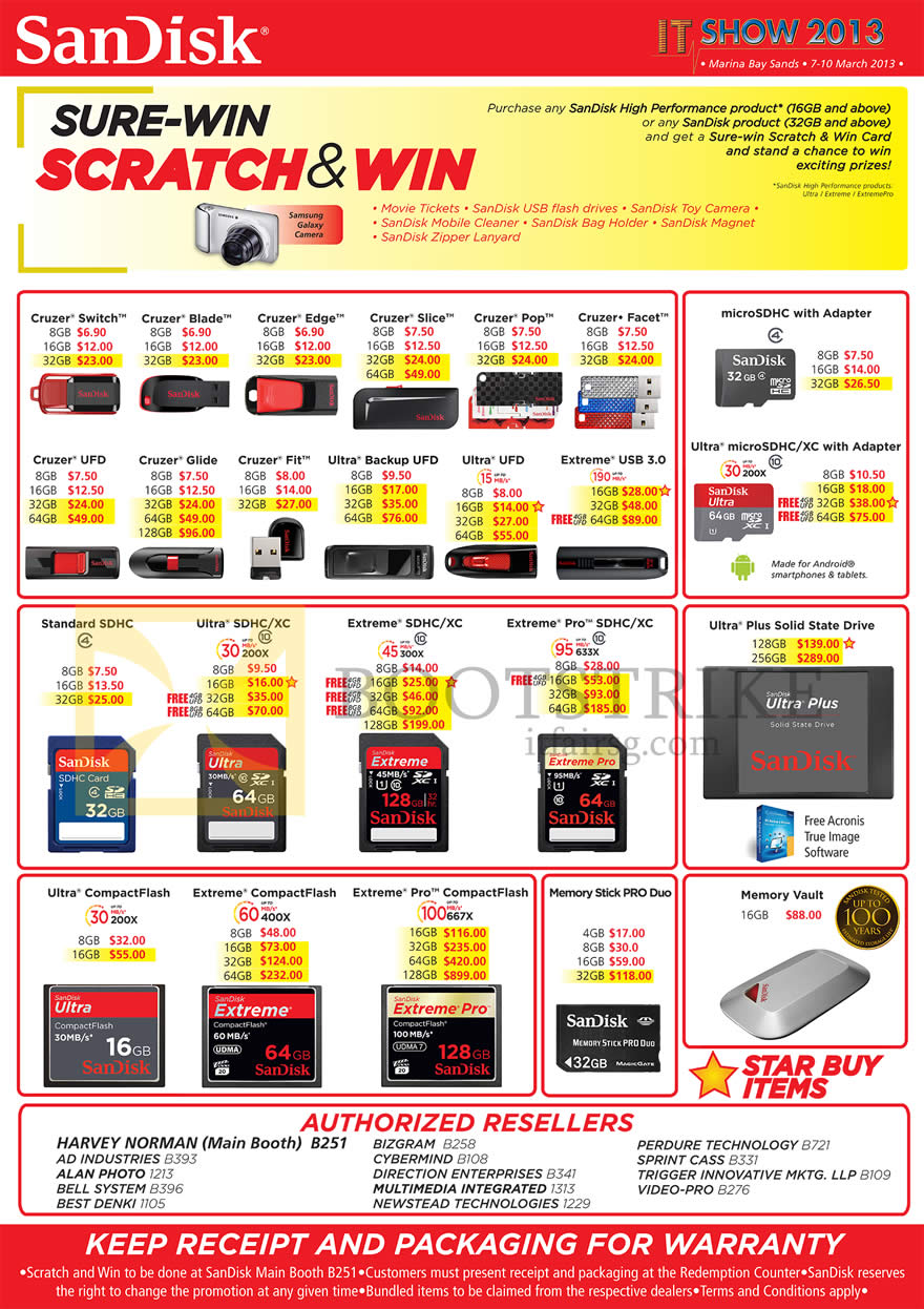 IT SHOW 2013 price list image brochure of Sandisk Flash Storage USB Drives Cruzer Switch Blade Edge Slice Pop Facet UFD Glide Fit Ultra Backup UFD Extreme, SDHC MicroSDHC, SSD, CompactFlash CF, Memory Stick Pro Duo, Vault