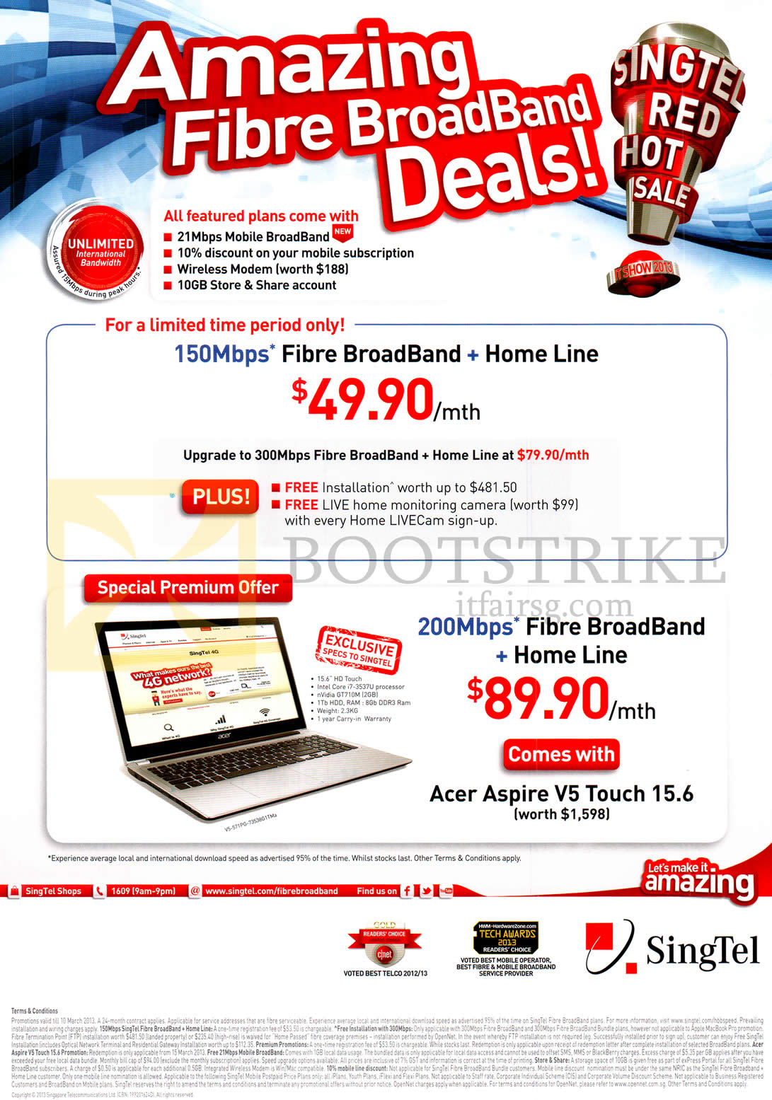 IT SHOW 2013 price list image brochure of Singtel Broadband Fibre 150Mbps, Fixed Line, 200Mbps Free Acer Aspire V5 Touch 15.6 Notebook