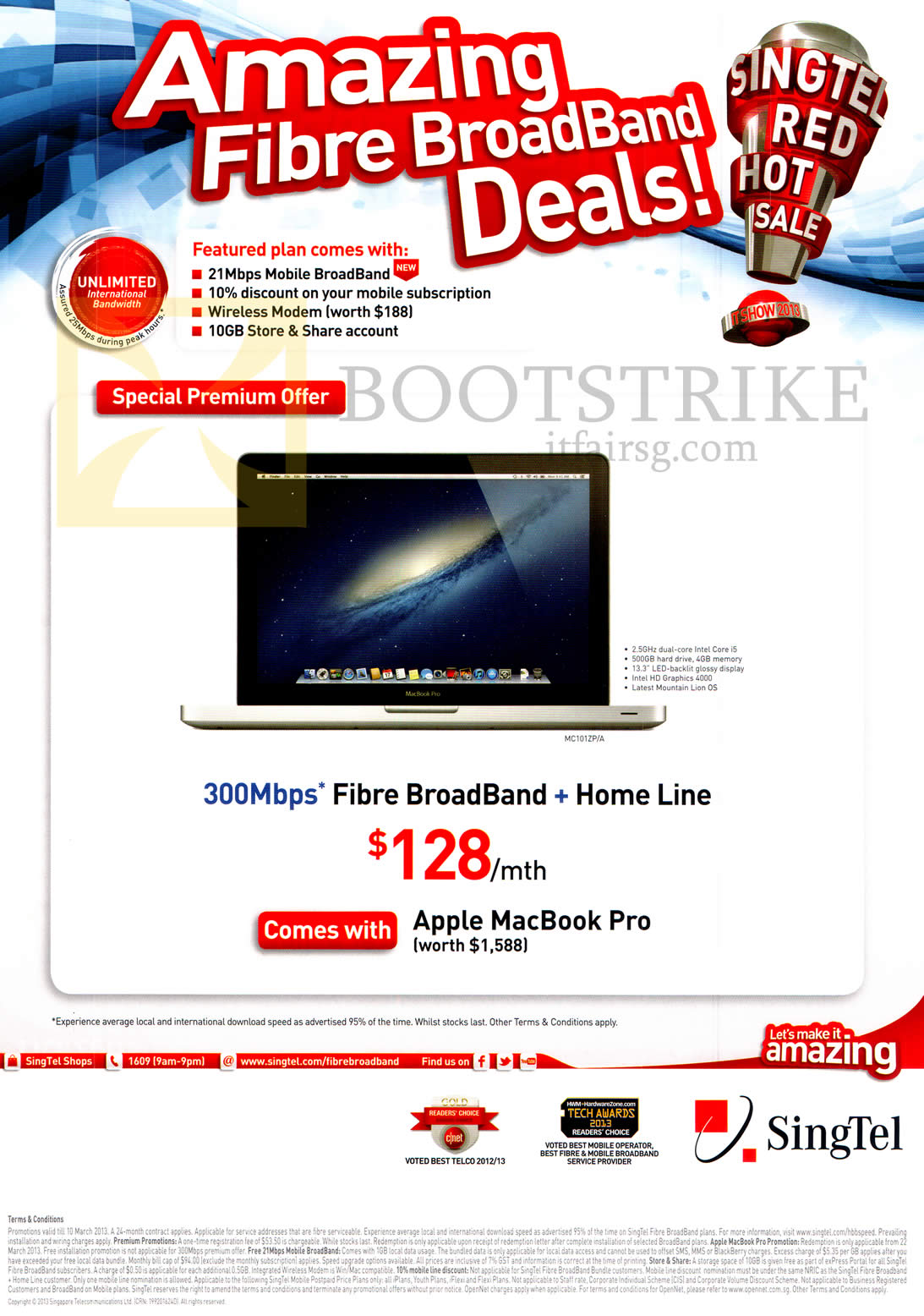 IT SHOW 2013 price list image brochure of Singtel Broadband Fibre 300Mbps, Fixed Line, 21Mbps Mobile Broadband, Free Apple Macbook Pro