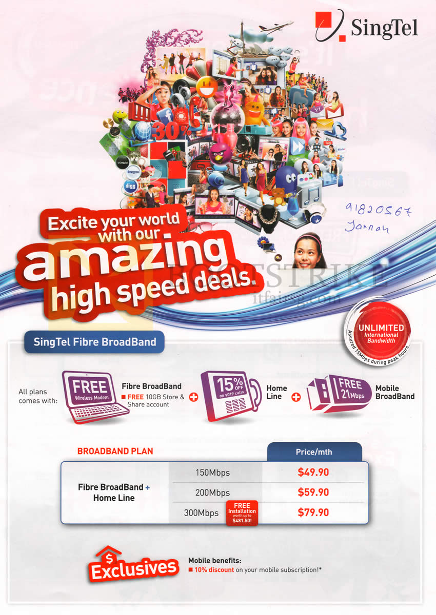 IT SHOW 2013 price list image brochure of Singtel Broadband Fibre N Fixed Line 150Mbps, 200Mbps, 300Mbps