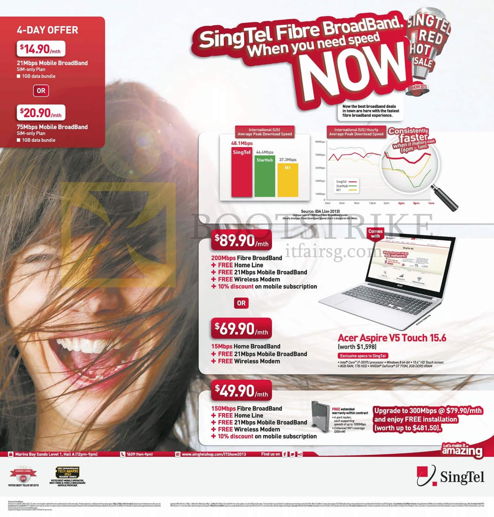IT SHOW 2013 price list image brochure of Singtel Broadband Mobile 21Mbps, 75Mbps, Fibre 200Mbps ADSL 15Mbps Free Acer Aspire V5 Touch 15.6 Notebook, 150Mbps, 300Mbps