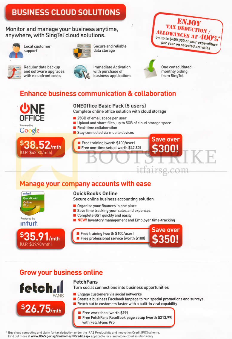 IT SHOW 2013 price list image brochure of Singtel Business Cloud Solutions, OneOffice Basic Pack, QuickBooks Online, FetchFans