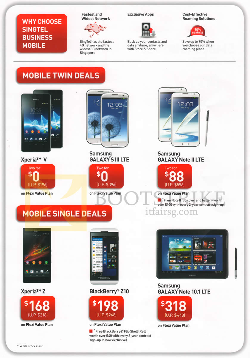 IT SHOW 2013 price list image brochure of Singtel Business Mobile Twin Deals Sony Xperia V, Samsung Galaxy S III LTE, Note II LTE, Note 10.1 LTE, Xperia Z, Blackberry Z10