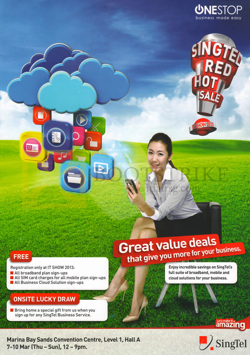 IT SHOW 2013 price list image brochure of Singtel Business OneStop Roadshow Specials, Free Registration, Lucky Draw