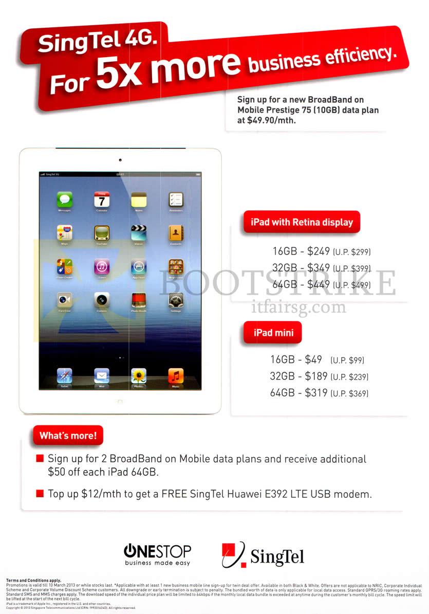 IT SHOW 2013 price list image brochure of Singtel Business Onestop Apple IPad 4, IPad Mini