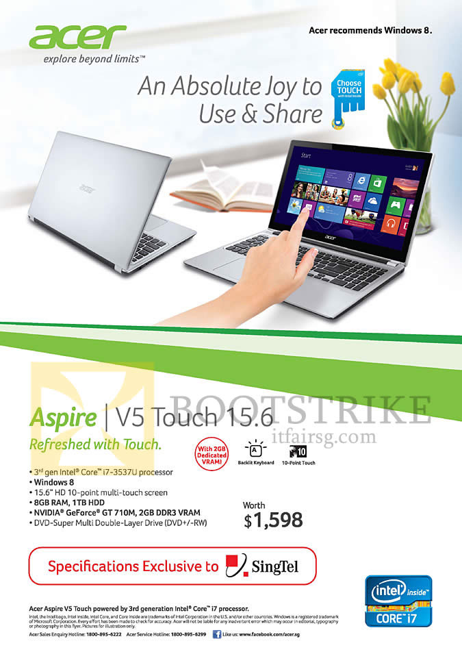 IT SHOW 2013 price list image brochure of Singtel Free Acer Aspire V5 Touch 15.6 Notebook Specifications