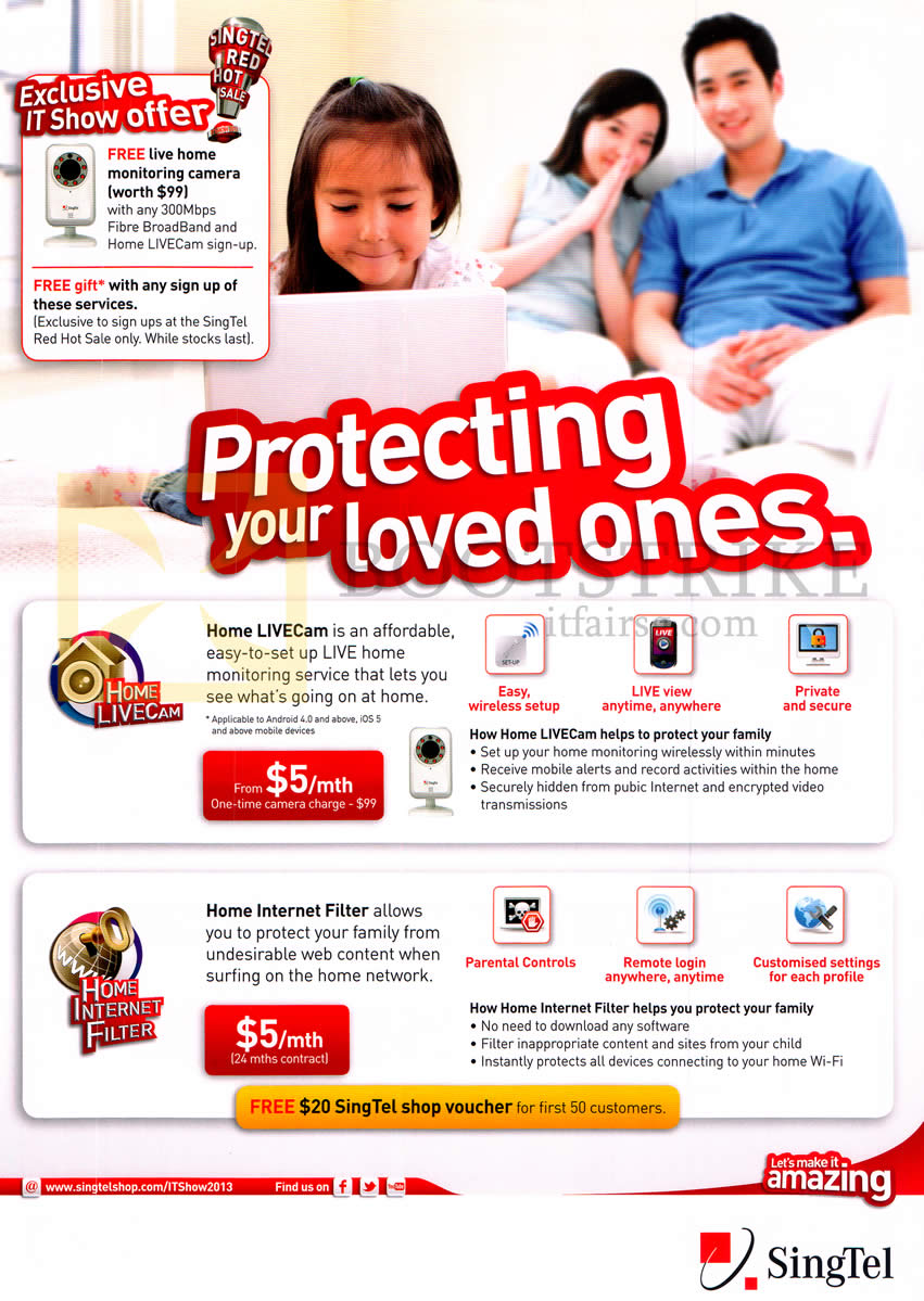 IT SHOW 2013 price list image brochure of Singtel Home LiveCam, Home Internet Filter