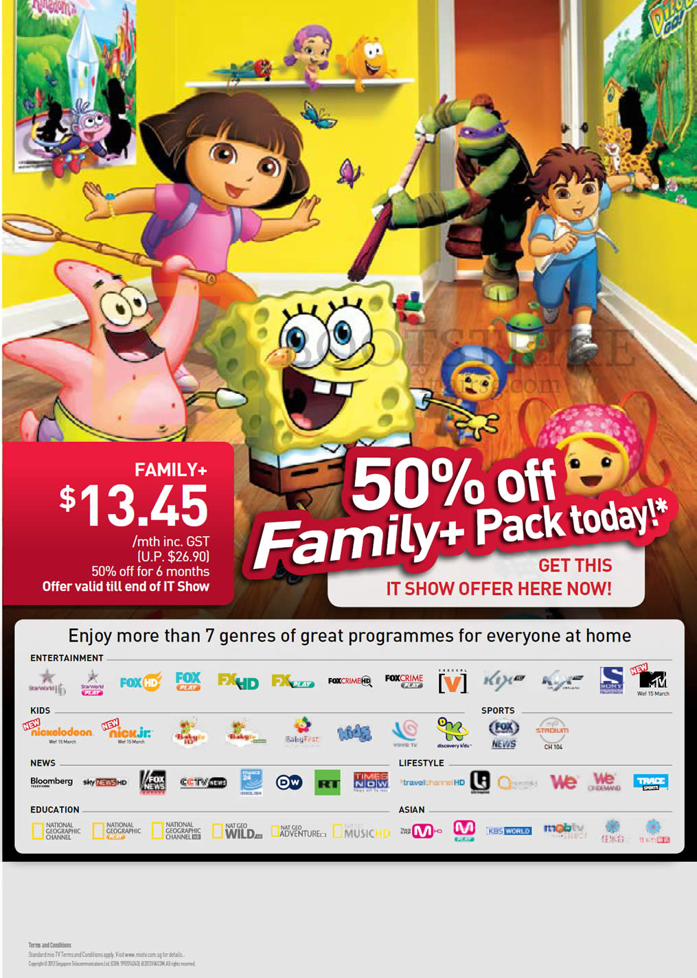 IT SHOW 2013 price list image brochure of Singtel Mio TV Family Plus Package 50 Percent Off